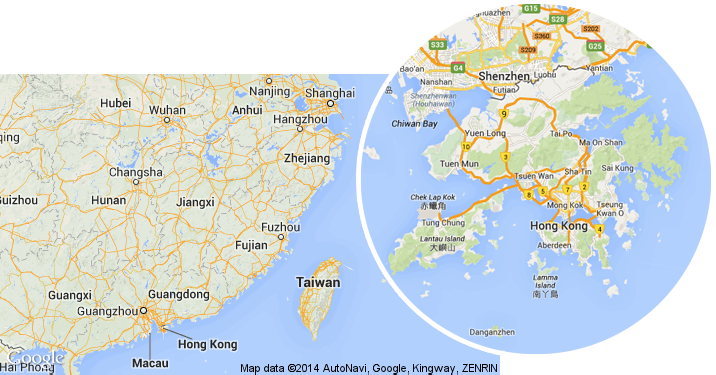 Map of Hong Kong Location in China